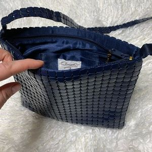 Vintage glam Navy metal mesh crossbody bag